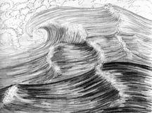 Overzeese golven, getrokken hand Royalty-vrije Stock Foto's