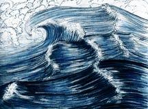 Overzeese golven, getrokken hand stock illustratie