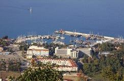 Overzeese haven van Kemer stad, Turkije Royalty-vrije Stock Fotografie