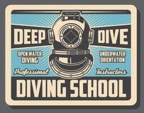 Overzeese het duiken sportschool die retro affiche opleiden royalty-vrije illustratie