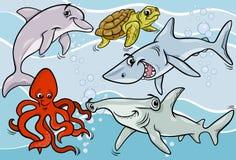 Overzeese het levensdieren en van vissen beeldverhaal stock illustratie