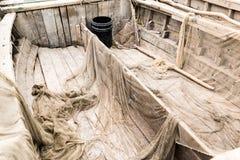 Overzeese houten texturen Oude Vissersboot stock afbeelding