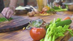 Overzeese krab die op keukenlijst kruipen terwijl het koken van voedsel in zeevruchtenrestaurant Leef krab voor het voorbereiding stock video