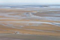 Overzeese kust at low tide, Heilige Michael ` s, Frankrijk Royalty-vrije Stock Afbeeldingen
