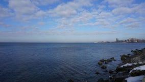 Overzeese kust Mening van hierboven vladivostok Stock Foto's