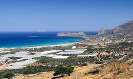 Overzeese kustlijn dichtbij Falasarna op het eiland van Kreta, Griekenland Stock Afbeeldingen