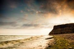 Overzeese kustzonsopgang in Chabanka Odesa de Oekraïne Stock Afbeeldingen