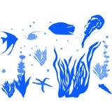 Overzeese kwallen Vissenaquarium stock illustratie