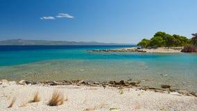 Overzeese lagune Galrokavos Kassandra, Halkidiki, Noordelijk Griekenland royalty-vrije stock foto