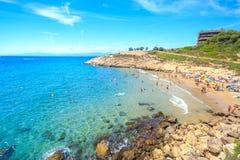 Overzeese lagune met strand royalty-vrije stock foto's