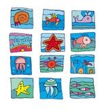 Overzeese mariene onderwaterpictogrammen Stock Foto