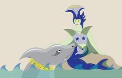 Overzeese meermin en haai. Royalty-vrije Stock Foto