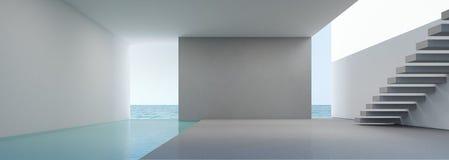 Overzeese mening die in modern huisbinnenland leven op strand met zwembad Stock Foto
