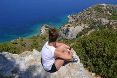 Overzeese mening over Rhodes Island, Griekenland, Europa Stock Fotografie
