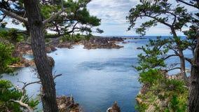 Overzeese mening van heuvel bij Sado-eiland Stock Foto