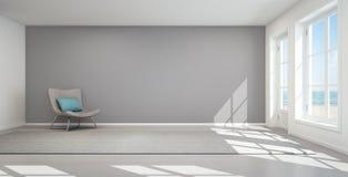 Overzeese meningswoonkamer in modern strandhuis, de Zomerhuis Stock Foto's