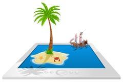 Overzeese monsteraanval - Illustratie op tablet royalty-vrije illustratie