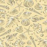 Overzeese naadloos shells pettren Royalty-vrije Stock Foto