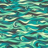 Overzeese Naadloze Golven Vector illustratie Blauwgroen Stock Afbeelding