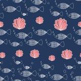 Overzeese naadloze patroonvissen en koralen vector illustratie