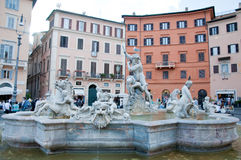 Overzeese nimf in de fontein van Neptunus in Piazza Navona in Rome Royalty-vrije Stock Foto
