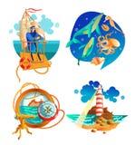 Overzeese Oceaan Zeevaart Geplaatste Symbolen Royalty-vrije Stock Afbeelding