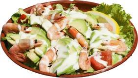 Overzeese Salade met garnalen, merg en verse groenten Stock Afbeelding