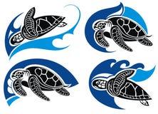 Overzeese schildpad De zomersymbolen Royalty-vrije Stock Afbeeldingen