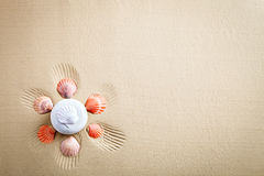Overzeese shell op het overzeese strand De zomerrust Stock Foto