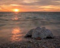 Overzeese shell wordt verlicht door mooie avondzonneschijn stock afbeelding