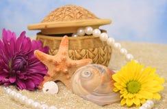 Overzeese Shells en Bloemen Stock Foto