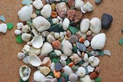 Overzeese shells en stenen Stock Foto's