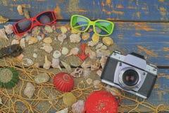 Overzeese Shells op een Blauwe Achtergrond De zomer reizende tijd Overzeese vakantieachtergrond met diverse shells, zonnebril en  Stock Afbeeldingen