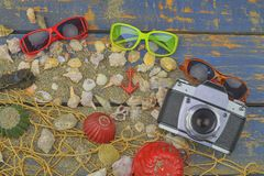 Overzeese Shells op een Blauwe Achtergrond De zomer reizende tijd Overzeese vakantieachtergrond met diverse shells, zonnebril en  Royalty-vrije Stock Afbeelding