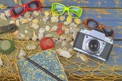 Overzeese Shells op een Blauwe Achtergrond De zomer reizende tijd Overzeese vakantieachtergrond met diverse shells, zonnebril en  Stock Foto's