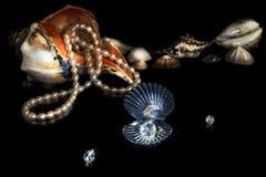 Overzeese Shells, Parelhalsband en Bergkristal Zwarte achtergrond Stock Fotografie