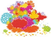 Overzeese slak en koralen Stock Afbeeldingen