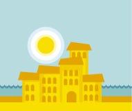 Overzeese stads vectorillustratie Stock Afbeelding