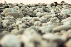 Overzeese stenen op kuststrand Royalty-vrije Stock Foto's