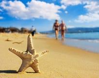 Overzeese ster op het strand Stock Fotografie