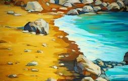 Overzeese strand en golven, die door olie op canvas schilderen vector illustratie