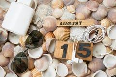 Overzeese strand en vakantie bij 15 ogf augustus Royalty-vrije Stock Afbeeldingen