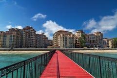 Overzeese toevlucht Elenite op de Bulgaarse kust van de Zwarte Zee Stock Foto's