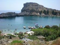 Overzeese van de Baai van Rhodos Lindos panoramabetovering Royalty-vrije Stock Foto's