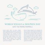 Overzeese van de lijnstijl walvis en dolfijn - sparen de mariene zoogdieren vectorillustratie vector illustratie