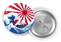 Overzeese van Japan golfmt fuji op het toenemen de broche van de zonvlag vector illustratie