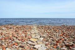 Overzeese van Ladoga kust stock foto