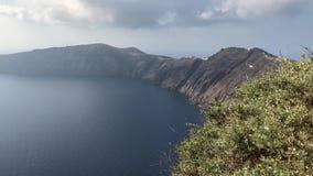 Overzeese van Santorini mening stock footage