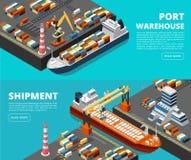 Overzeese vervoers horizontale vector overzeese vracht en verschepende banners met isometrische zeehaven, schepen, containers en royalty-vrije illustratie