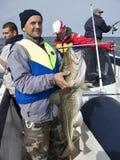 Overzeese visser met reusachtige kabeljauw Stock Foto